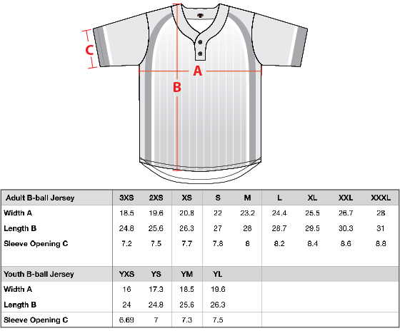 Baseball Jersey Sizing - Mosaic Threads
