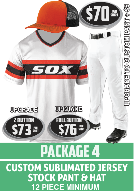 Custom sublimated baseball package